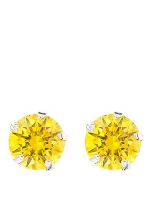 MUSAVENTURA Pendientes Circonita 6 mm Golden Yellow