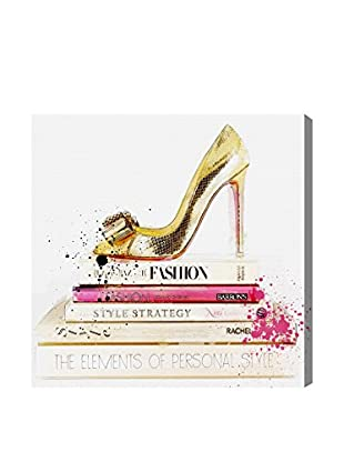Oliver Gal Gold Shoe & Fashion Books Canvas Art