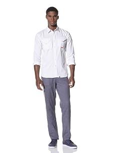SLDVR Men's PB Button-Front Shirt (Navy)