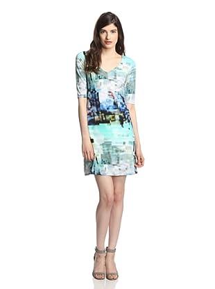 Julia Jordan Women's Cropped Sleeve Digital Print Dress (Mint/Blue Multi)