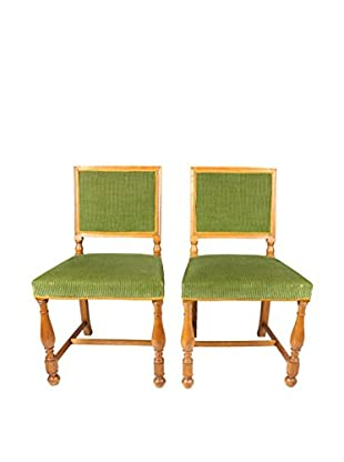 Set of 2 Swedish Hall Chairs, Brown/Green