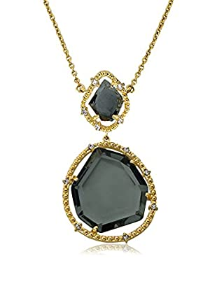 Riccova 14K Gold Plated Black Sliced Glass Pendant Chain Necklace
