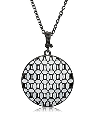 Riccova Country Chic Black Rhodium Plated White Enamel Woven Circle Pendant On Long Chain Necklace/White Metal