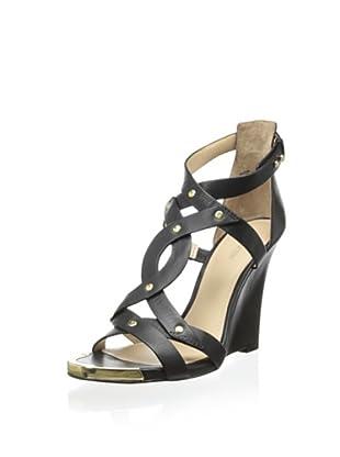 Pour La Victoire Women's Valen Wedge Sandal (Black)