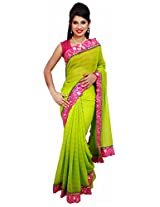 Diva Women's Chiffon Saree (Mint Green )