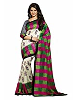 Abida Printed Multi Color Bhagalpuri Art Silk Saree With Blouse Piece