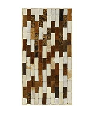 ABC Teppich Leather Patchwork mehrfarbig 60 x 120 cm