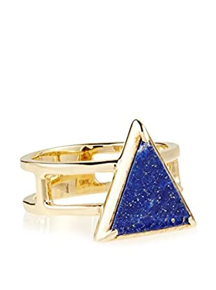 Elizabeth and James Gold-Plated Metropolis Lapis Triangle Slab Stacking Ring