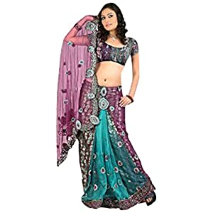Pink Net and Faux Georgette Brasso Lehenga Style Saree With Blouse