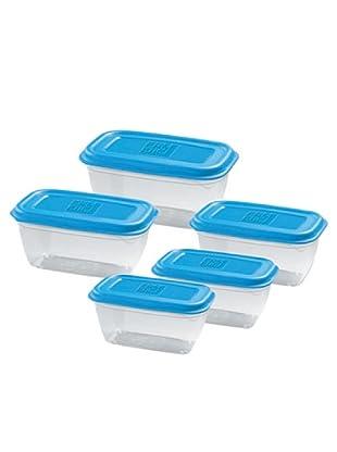 GiòStyle Set 5 Contenitori Rettangolari azzurro