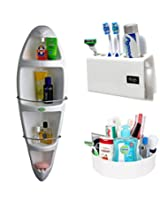 CiplaPlast Combo of Kangaroo Corner Bathroom Cabinet, Tooth Brush Holder & Multi-Purpose Container - White
