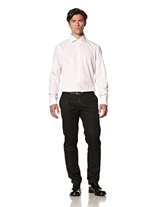 Attolini Men's Aldo Dress Shirt (White and Blue Stripe)