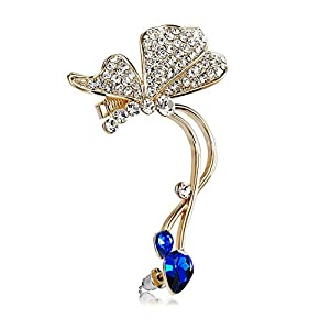 Via Mazzini Flying Butterfly Blue Crystal Ear Cuff Earring (Left Ear Only)