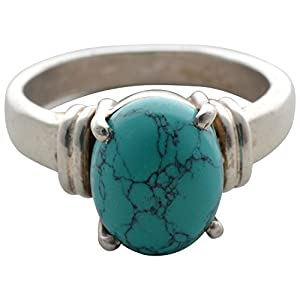 Pearl Paradise Turquoise blue silver ring.