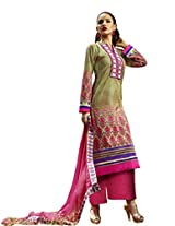 Admyrin Green Cotton Salwar Kameez with Pink Chikan Work Bottom