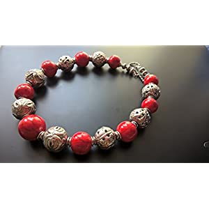Dreamz Jewels Tribal Necklace in Red and Silver