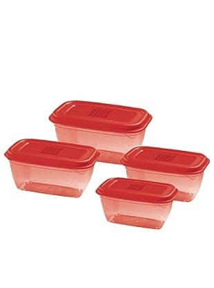 GiòStyle Set 4 Contenitori Rettangolari rosso