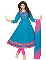 Blue cotton anarkali casual wear suit with embroidered work and chiffon dupatta