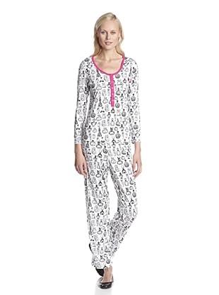 BH PJ's by BedHead Pajamas Women's Placket Pajama Set (Vintage Perfume White)