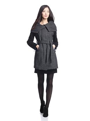 LatteBLACK  Women's Belted Coat with Oversize Collar (Black/Grey)