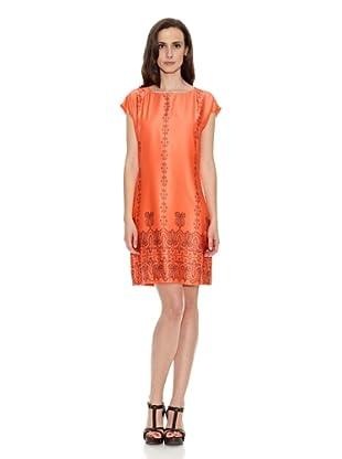 Cortefiel Vestido Túnica Manga Corta Estampada (Naranja)