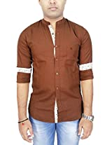 AA' Southbay Men's Choco Linen Cotton Mandarin Collar Long Sleeve Solid Casual Party Shirt