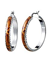 Sterling Silver Orange and Yellow Enamel Hoop Earrings