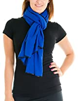 Cotton Cantina Juniors Semi Sheer Basic Scarf with Contrasting Trim (One Size, Royal Blue)