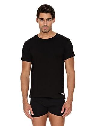 Unno Camiseta Manga Corta Cuello Redondo Transpirable (Negro)