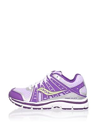 Saucony Kid's Grid Flex Running Shoe (Little Kid/Big Kid) (Purple/Lime/Silver)