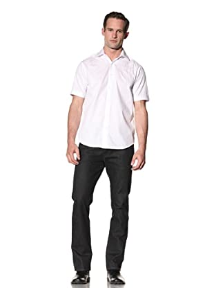 J. Campbell Los Angeles Men's Pembroke Embroidered Short Sleeve Shirt (White)