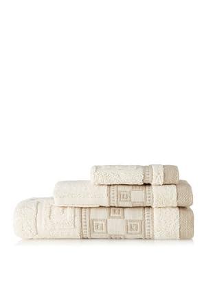 Belle Époque Squares 3-Piece Towel Set, Linen/Ecru