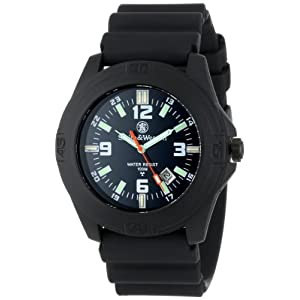 Smith & Wesson Men's SWW-12T-N Soldier Tritium H3 Black Rubber Strap Watch