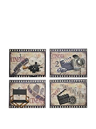 Three Hands Set of 4 Wood Cinema Wall Art