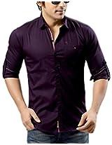Redox Men's Slim Fit Cotton Shirt [9536-2-13_Purple_XXL]