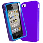 Decoro DSCIP4PRTE Premium Case for Apple iPhone 4/4S - 1 Pack - Carrying Case - Retail Packaging - Purple/Teal