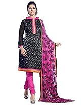 Viva N Diva Black Color Chanderi Cotton Suit.