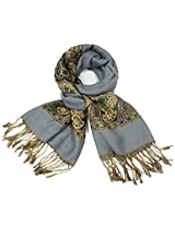 Dahlia Women's Pashmina Scarf - Indian Motifs - Gray