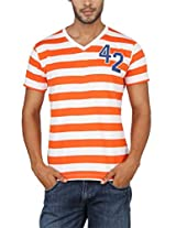 Paani Puri Men's V-Neck T-Shirt (2120802434_Orange_X-Large)
