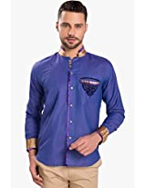 Purple Solid Slim Fit Casual Shirt Ishin