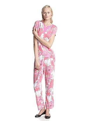 BH PJ's by BedHead Pajamas Women's Short Sleeve V-Neck Pajama Set (Leaf Pink)