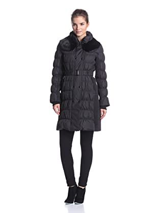 Via Spiga Women's Long Double-Breasted Puffer with Fur Collar (Black)