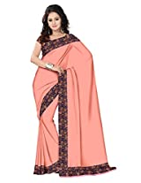 Mistyque Peach supernet saree with Kalamkari border and semistitched blouse