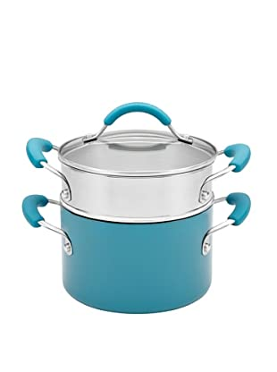 KitchenAid Aluminum Nonstick 3-Quart Covered Saucepot with Stainless Steel Steamer Insert (Peacock)