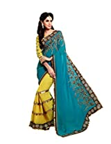 Kalista Faux Georgette Saree in Blue Yellow Colour for Party Wear