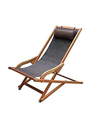 Outdoor Interiors Eucalyptus Sling Lounger with Pillow, Brown/Black