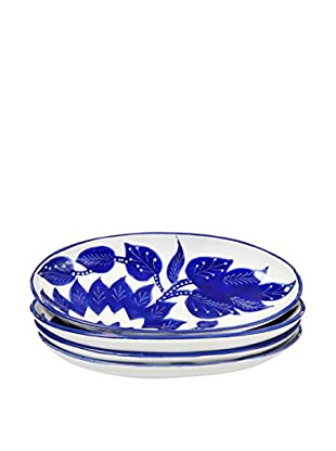 Le Souk Ceramique Jinane Set of 4 Small Oval Platters, Blue/White