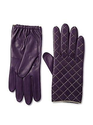 Portolano Women's Metallic Quilted Leather Gloves with Silk Lining (Fresh Plum/Ambassador)