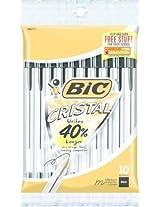 12PK BIC MSP101BLK Cristal Stic Ballpt Blk Med 10Pk