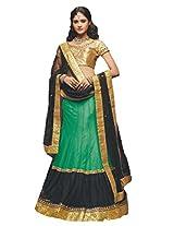 Suchi Women Net Lehenga Saree Lehenga Cholis (Sfjag90316 _Green And Black _Free Size)